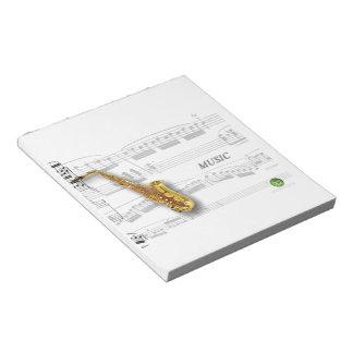 楽譜が付いているサクソフォーン ノートパッド