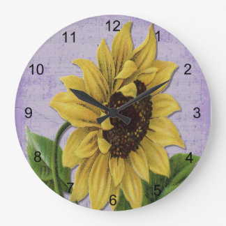 楽譜のかわいらしいヒマワリ ラージ壁時計