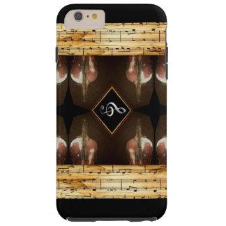 楽譜のボーダー2と手塗りビオラ TOUGH iPhone 6 PLUS ケース