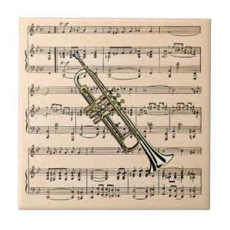楽譜の背景の~のミュージカルInstとトランペットを吹いて下さい タイル