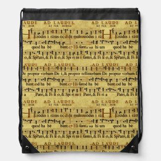 楽譜表示法の古いペーパーデザイン ナップサック