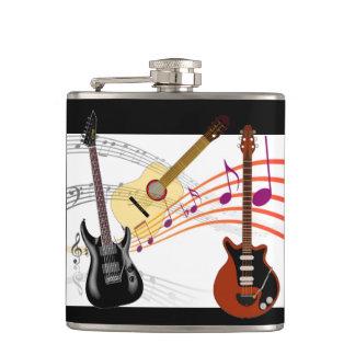 楽隊音楽のミュージシャンのテーマの電気アコースティックギター フラスク