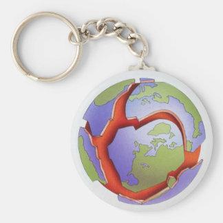 構造プレートの割れた地球のマグマ円形のKeychain キーホルダー