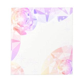 構造色のピンクのラベンダーのコンパスのラインストーン ノートパッド