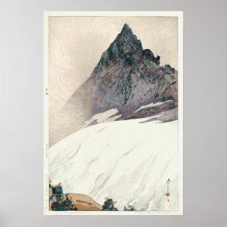 槍ヶ岳の山Yari、ひろし吉田の木版画 プリント