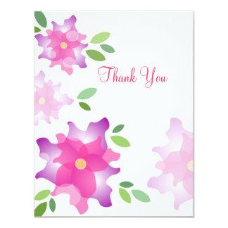 様式化されたツツジのピンクのサンキューカード カード
