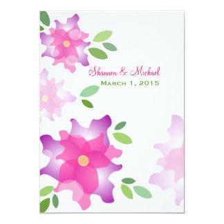 様式化されたツツジのピンクの結婚式招待状 カード