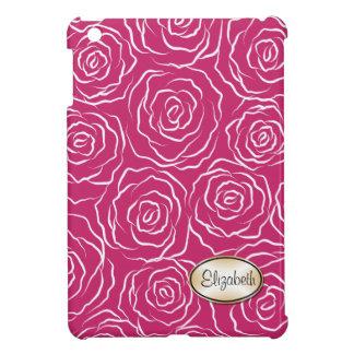 様式化されたバラパターンiPad Miniケース-ショッキングピンク iPad Mini カバー