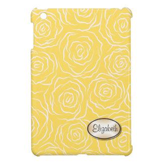 様式化されたバラパターンiPad Miniケース-黄色 iPad Miniカバー
