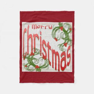 様式化されたヒイラギとのメリークリスマス フリースブランケット