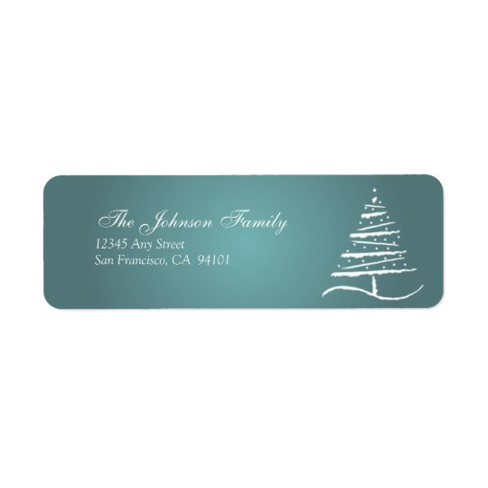 様式化された木の休日の宛名ラベル(石板の青) ラベル