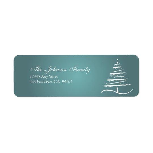 様式化された木の休日の宛名ラベル(石板の青) 返信用宛名ラベル