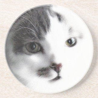 様式化された猫の顔のクローズアップの石のコースター コースター