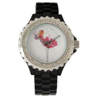 様式化された色彩の鮮やかな水彩画のケシの花 腕時計