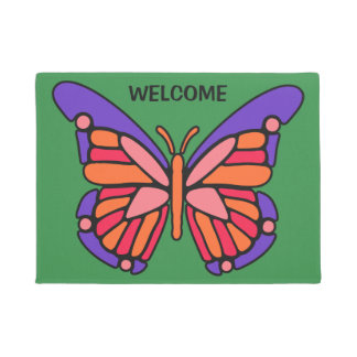 様式化された蝶カスタムな文字及び色のドア・マット ドアマット