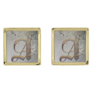 様式化された金ゴールドの手紙カフスボタン ゴールド カフスボタン