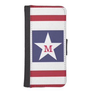様式化される星条旗のモノグラム iPhoneSE/5/5sウォレットケース