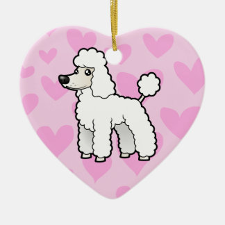 標準かミニチュアまたはトイプードル愛(切られる子犬) セラミックオーナメント