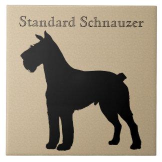 標準シュナウツァー犬のシルエット タイル