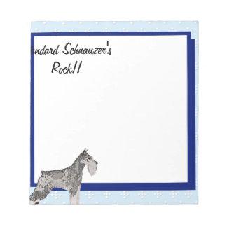 標準シュナウツァー-青いw/Whiteのダイヤモンド ノートパッド