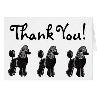 標準プードルの白黒はメッセージカード感謝していしています カード