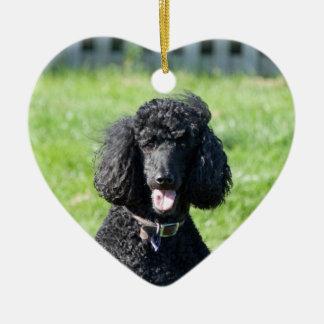 標準プードル犬の黒の美しい写真のポートレート セラミックオーナメント