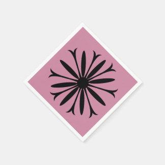 標準的なカクテルの黒い及び白い花のロゴ スタンダードカクテルナプキン