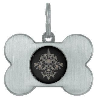 標準的なベクトルビクトリアンなゴシック様式ダマスク織パターン黒 ペットネームタグ