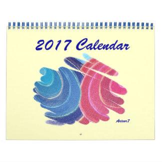 標準2017のカレンダーの青いピンクの対のらせん状 カレンダー
