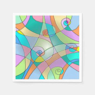 模倣されたステンドグラスのカラフルなデザイン スタンダードカクテルナプキン