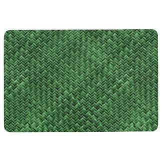 模造ので幾何学的な篭織模様-緑 フロアマット