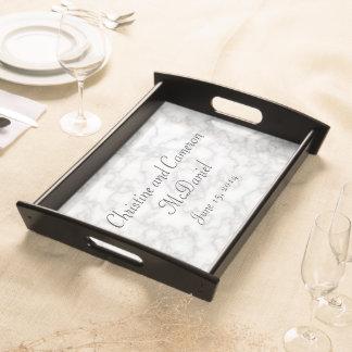 模造ので白い大理石の結婚式のトレイ トレー
