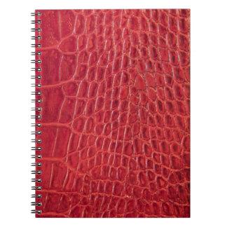 模造ので赤いわに革 ノートブック