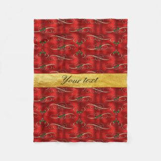 模造ので赤いホイルのエレガントなお祝いのヒイラギ フリースブランケット