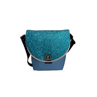 模造ので青いグリッター メッセンジャーバッグ