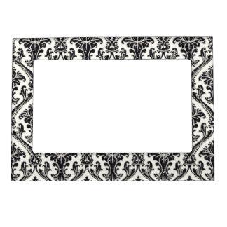 模造ので黒いグリッターのダマスク織花パターン台所 マグネットフレーム