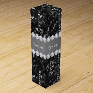 模造ので黒いスパンコールおよびダイヤモンド ワインギフトボックス