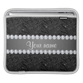 模造ので黒いスパンコールの輝きおよびダイヤモンド iPadスリーブ