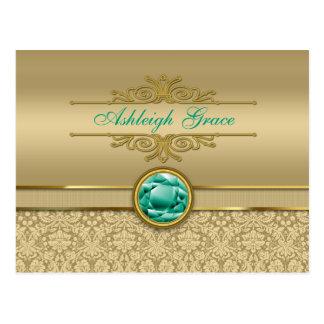 模造のなエメラルドの宝石用原石の金属光沢がある金ゴールドのダマスク織 ポストカード