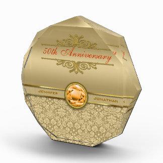 模造のなオレンジトパーズの宝石用原石の金属金ゴールドのダマスク織 表彰盾