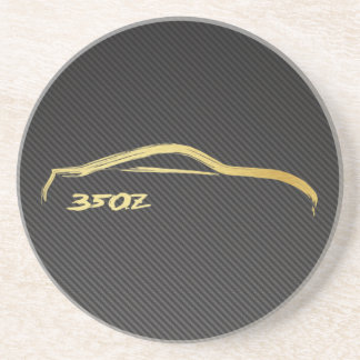 模造のなカーボンが付いている日産350zの金ゴールドのシルエット コースター