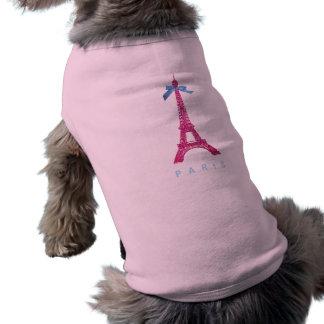 模造のなグリッターのショッキングピンクのエッフェル塔 ペット服