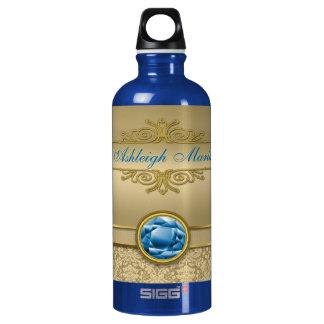 模造のなサファイアの青い宝石用原石の金属金ゴールドのダマスク織 ウォーターボトル