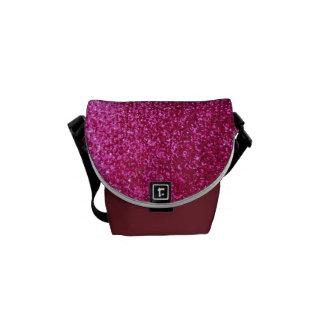 模造のなショッキングピンクのグリッター メッセンジャーバッグ