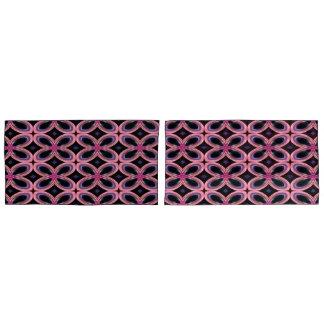 模造のなネオンピンクのフラワーパワー 枕カバー
