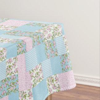 模造のなパッチワーク、ピンク、青いAppleの花パターン テーブルクロス