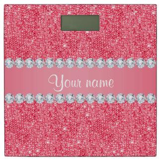 模造のなピンクのスパンコールおよびダイヤモンド 体重計