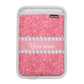 模造のなピンクのスパンコールおよびダイヤモンド iPad MINIスリーブ