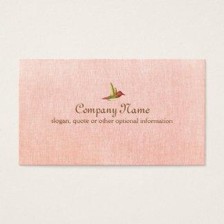 模造のなピンクのリネン名刺のハチドリ 名刺