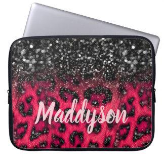模造のなピンクの黒いグリッターのヒョウは10代のな女の子に斑点を付けます ラップトップスリーブ